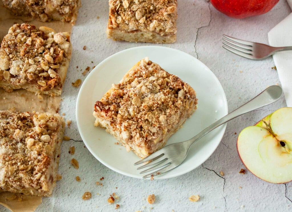 A plate of apple crisp bars