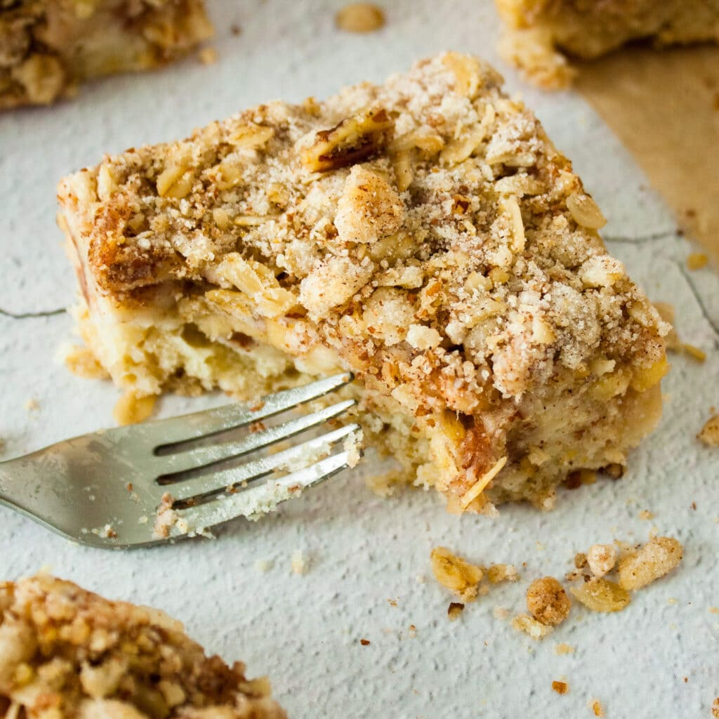 Apple Crisp Bars with fork