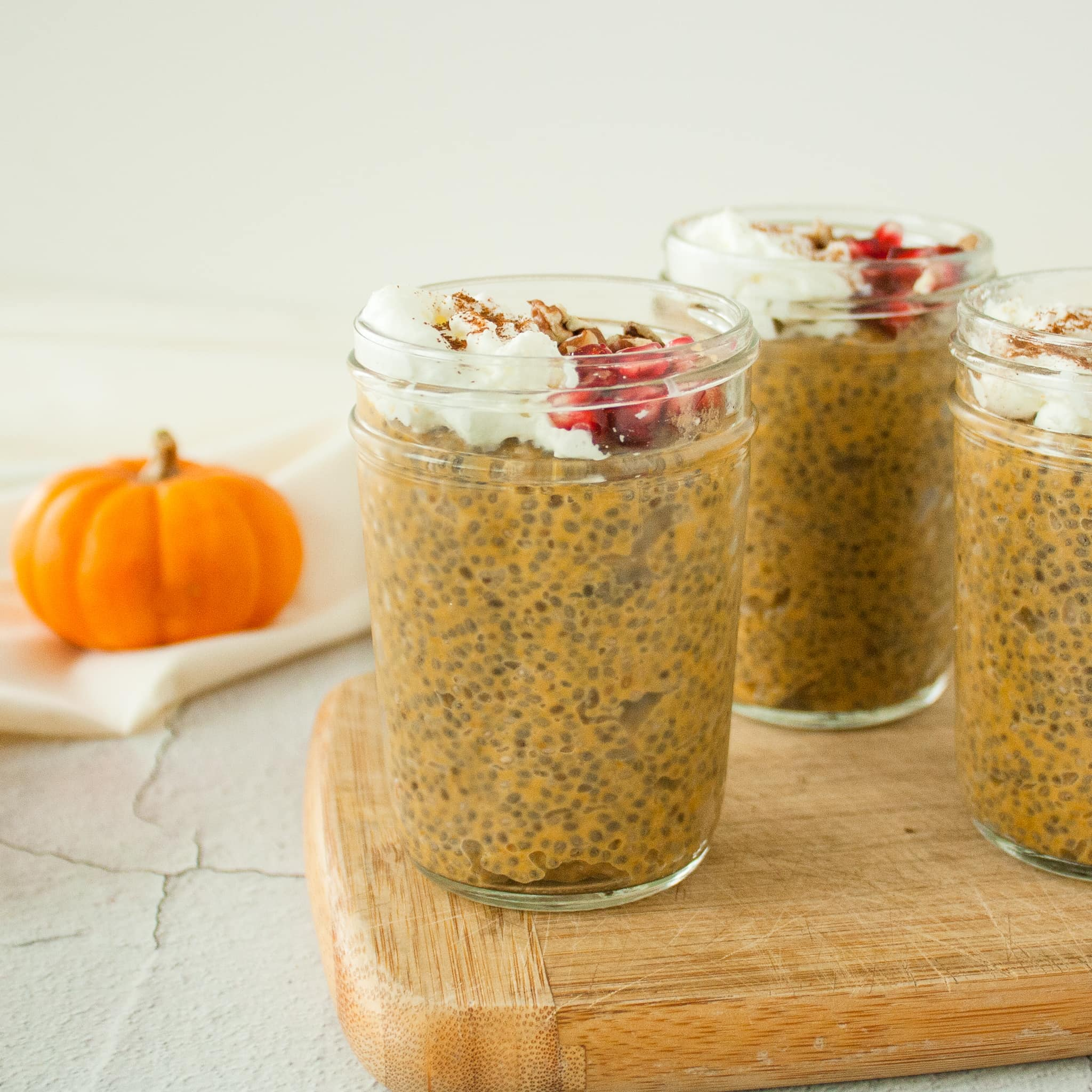 Cups of pumpkin chia pudding