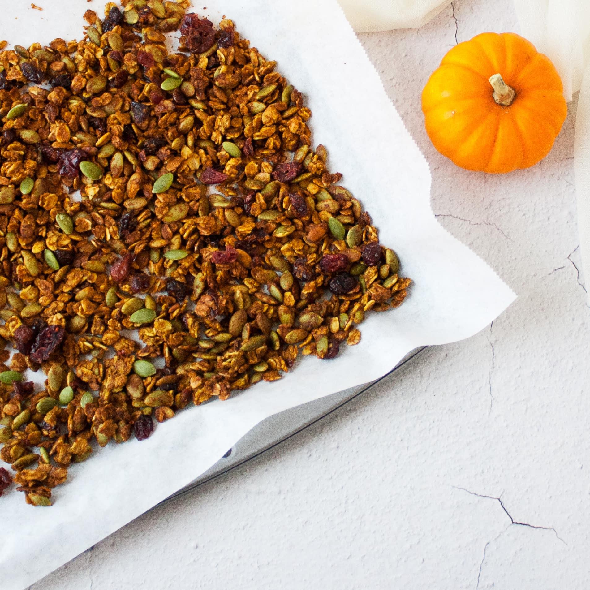 Freshly made pumpkin seed granola