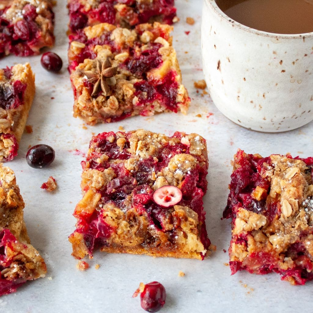 Picture of oatmeal cranberry bars with mug of coffee