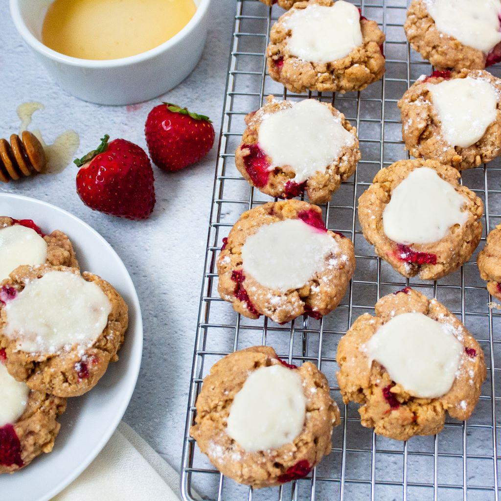 Photo of thumbprint cheesecake cookies